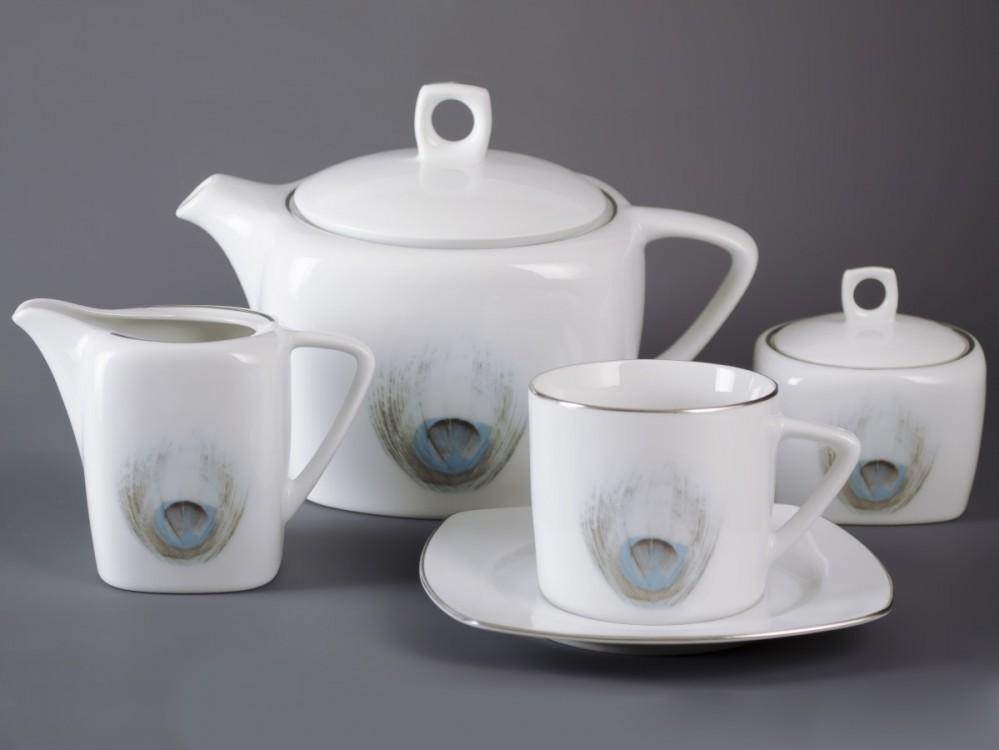 Čajová sada Tetra 15 dílná (Páv) platina