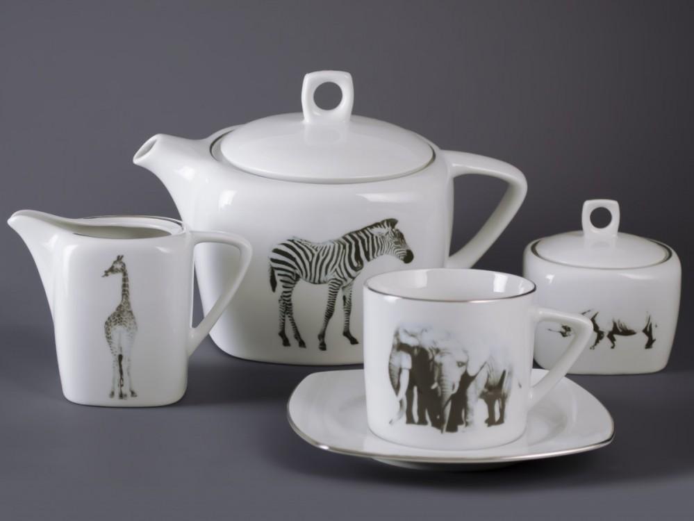 Čajová sada Tetra 15 dílná (Zvířata) platina