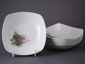 6 čtyřhranných talířů 21cm Levandule