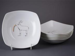 6 čtyřhranných talířů 21cm Jelen