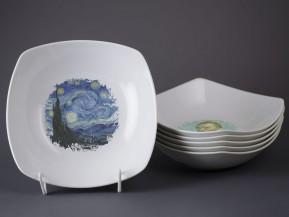6 čtyřhranných talířů 21cm van Gogh