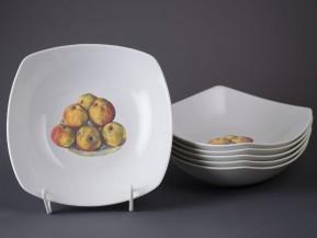 6 čtyřhranných talířů 21cm Jablka
