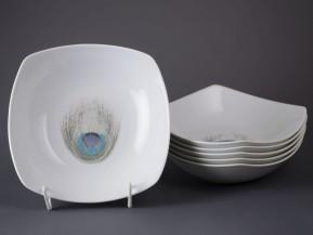 6 čtyřhranných talířů 21cm Páv