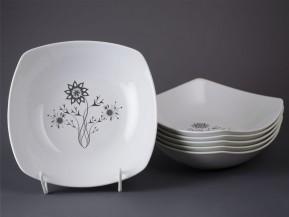 6 čtyřhranných talířů 21cm Květina