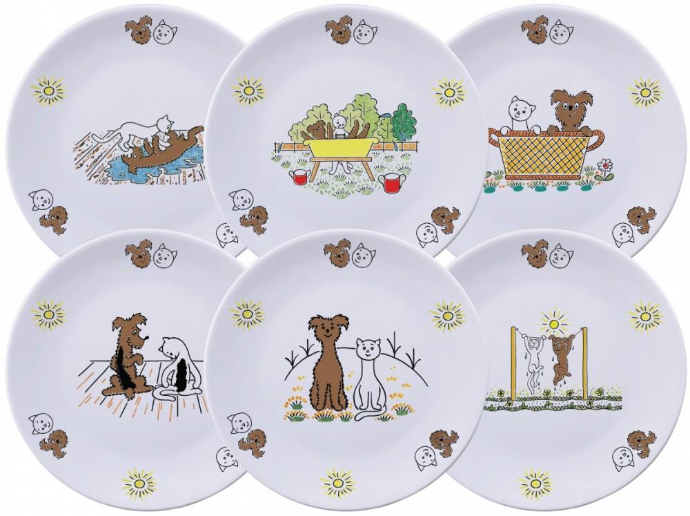 Sada 6 mělkých talířů 21cm (Pejsek a kočička) č.1